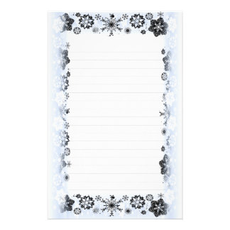 Snowflakes Border Lined Writing Paper