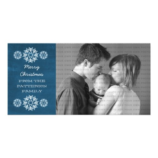 Snowflakes Chalkboard Holiday Photo Card, Blue