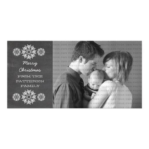 Snowflakes Chalkboard Holiday Photo Card, Gray