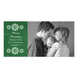 Snowflakes Chalkboard Holiday Photo Card, Green Custom Photo Card