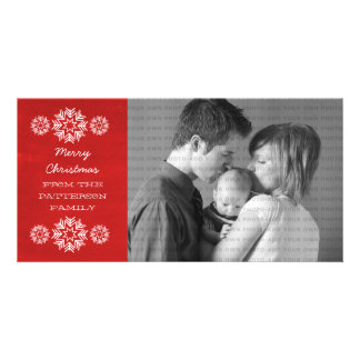 Snowflakes Chalkboard Holiday Photo Card, Red Picture Card