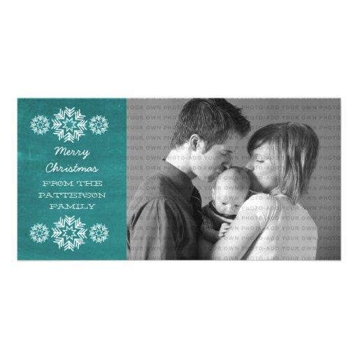 Snowflakes Chalkboard Holiday Photo Card, Teal