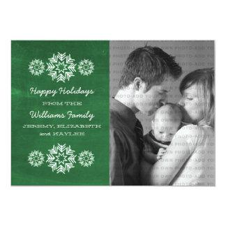 Snowflakes Chalkboard Photo Flat Card, Green Card