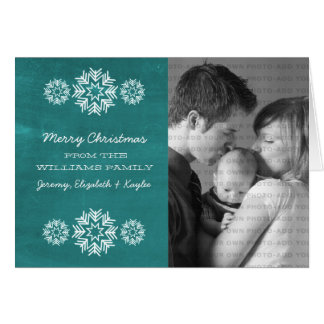 Snowflakes Chalkboard Photo Greeting Card, Teal Greeting Card