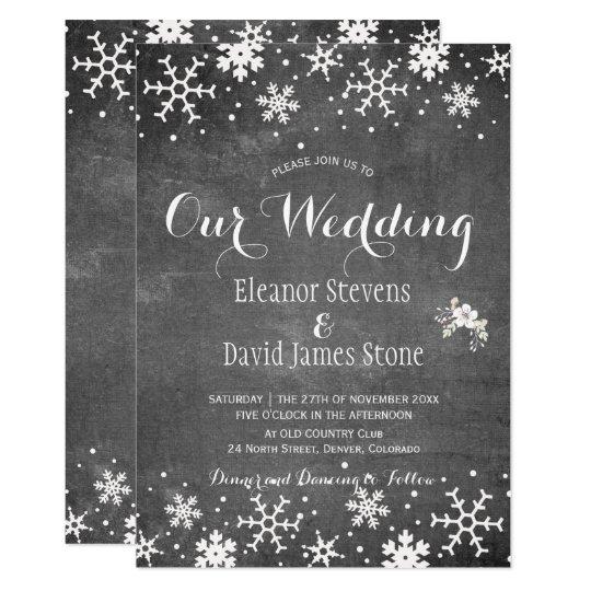 Snowflakes chalkboard winter rustic wedding card