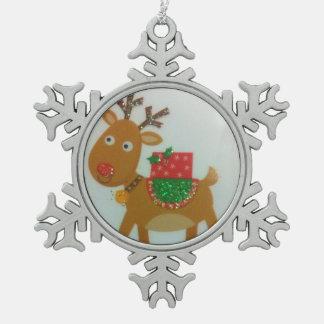 Snowflakes Christmas deer Pewter Snowflake Decoration