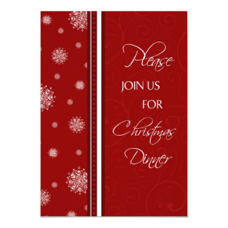 Snowflakes Christmas Dinner Invitation Card