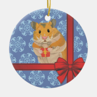 Snowflakes Christmas Hamster Ceramic Ornament