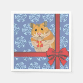 Snowflakes Christmas Hamster Disposable Napkins