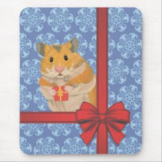 Snowflakes Christmas Hamster Mouse Pad