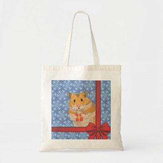 Snowflakes Christmas Hamster Tote Bag