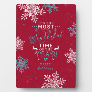 Snowflakes Christmas Red Turquoise Wonderful Time Plaque