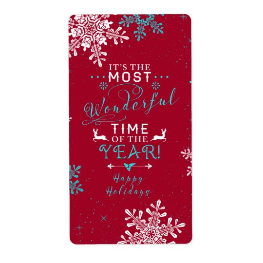 Snowflakes Christmas Red Turquoise Wonderful Time Shipping Label