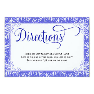 Snowflakes Country Wedding Directions Card