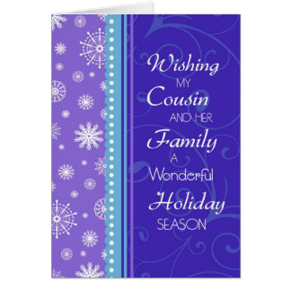 Snowflakes Cousin & her Family Christmas Card
