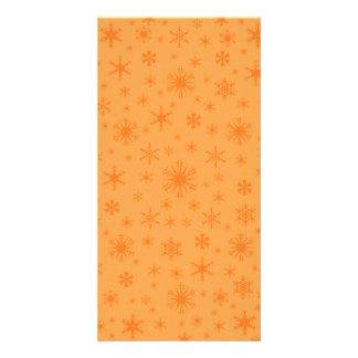 Snowflakes - Dark Orange on Orange Custom Photo Card
