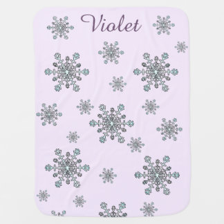 Snowflakes Design in Silver White and Blue Baby Blanket