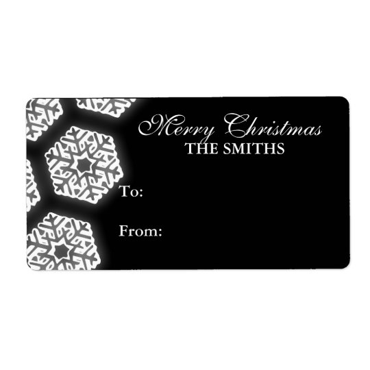 Snowflakes Family Gift Tag Black