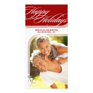 Snowflakes Flowers Chic Happy Holidays Photo Card