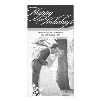 Snowflakes Flowers Holiday Greetings Photo Card