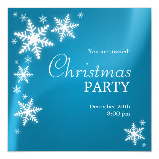 Snowflakes Frozen Blue Christmas Party Invitation