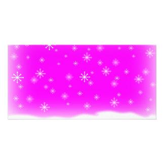 SNOWFLAKES FUCHSIA CUSTOM PHOTO CARD