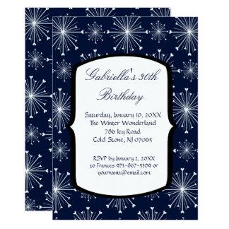Snowflakes Glowing 30th Birthday Invitation