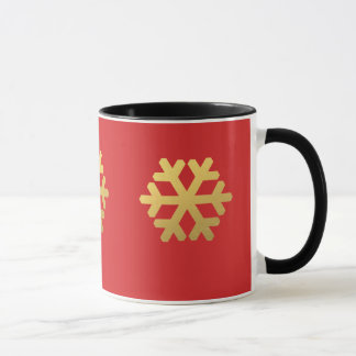 Snowflakes gold foil on red mug