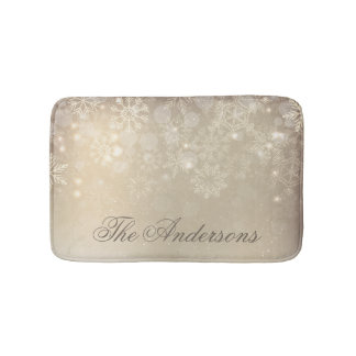 Snowflakes Gold Personalized Holiday   Bath Mat