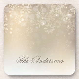 Snowflakes Gold Personalized Holiday | Coaster