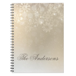 Snowflakes Gold Personalized Holiday | Notebook