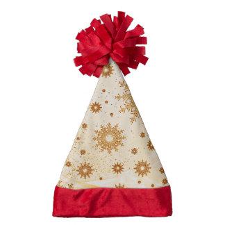 snowflakes golden santa hat