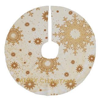snowflakes golden faux linen tree skirt