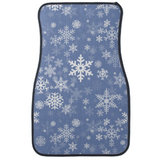 Snowflakes Graphic Customize Color Background on a Car Mat