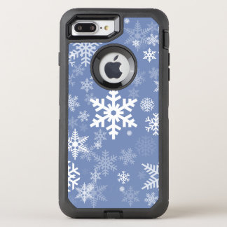 Snowflakes Graphic Customize Color Background on a OtterBox Defender iPhone 8 Plus/7 Plus Case