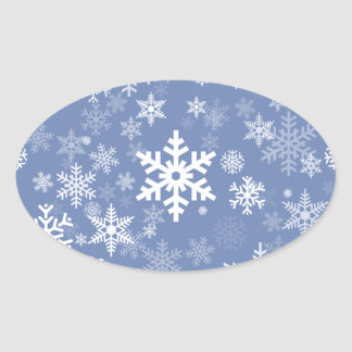 Snowflakes Graphic Customize Color Background on a Oval Sticker
