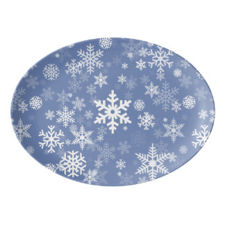 Snowflakes Graphic Customize Color Background on a Porcelain Serving Platter
