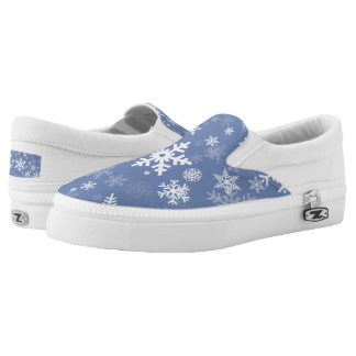 Snowflakes Graphic Customize Color Background on a Slip On Shoes