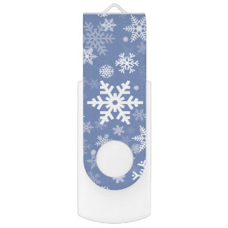 Snowflakes Graphic Customize Color Background on a USB Flash Drive