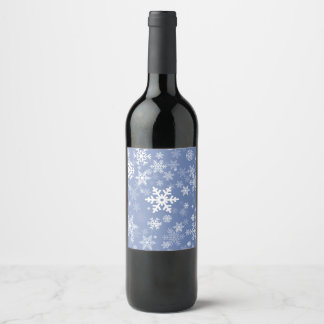 Snowflakes Graphic Customize Color Background on a Wine Label