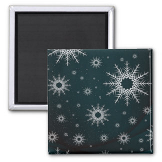 snowflakes green magnet