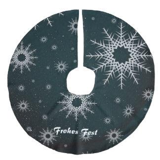 snowflakes green faux linen tree skirt