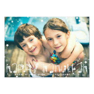 SNOWFLAKES HAPPY HANUKKAH PHOTO CARD 13 CM X 18 CM INVITATION CARD