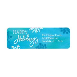 Snowflakes Happy Holidays Label Return Address Label