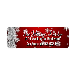 SNOWFLAKES Holiday Christmas RED Return Address Return Address Label