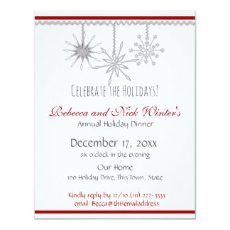 Snowflakes Holiday Dinner Party Card