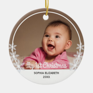 Snowflakes I Baby's First Christmas Photo Ceramic Ornament