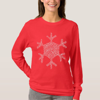 Snowflakes in a Snowflake - Women's Long (red) T-Shirt