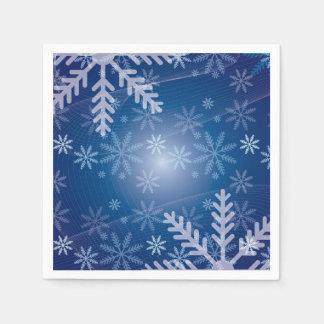 Snowflakes in Blue Disposable Napkin
