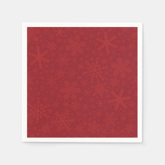 Snowflakes in Red | Holiday Napkins Disposable Serviette